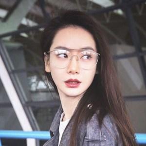 戚薇同款大框金属可配近视街头装饰眼镜女潮机场日常搭配圆脸眼镜