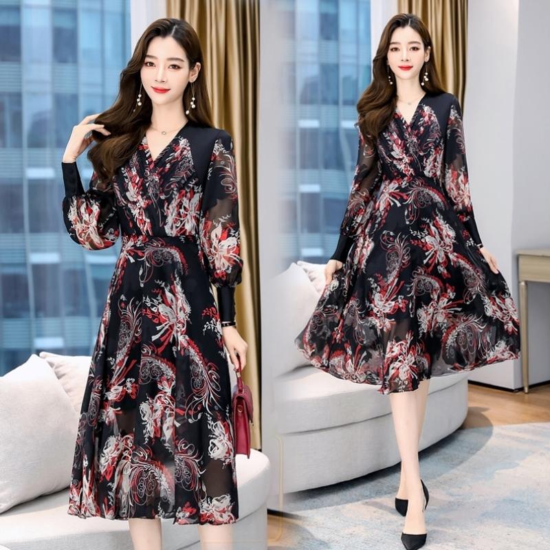 Autumn new patchwork print dress long sleeve skirt cross V-neck waist closing medium length skirt one-piece skirt kx0518
