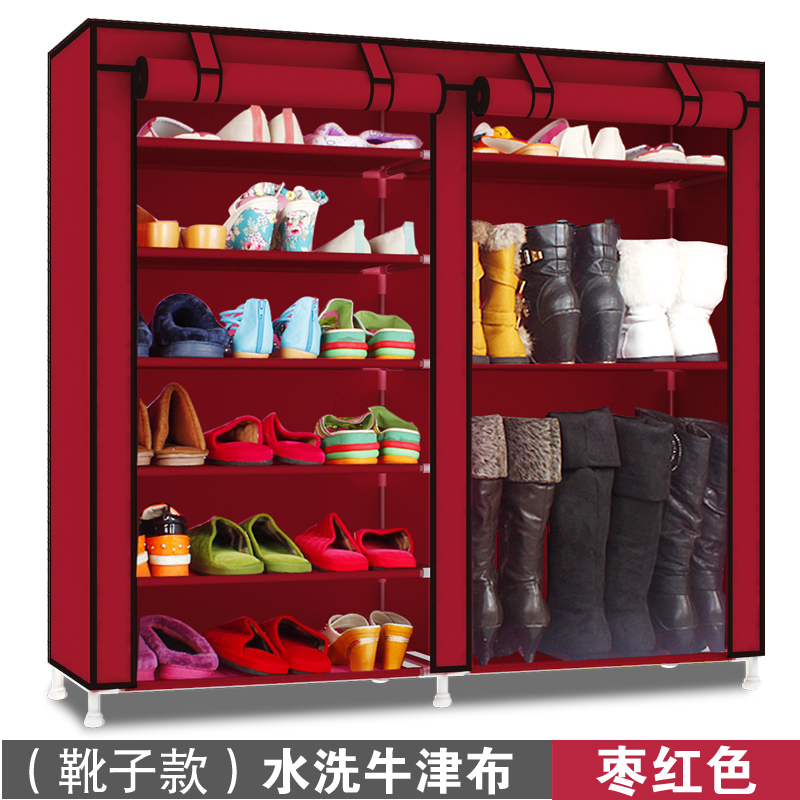 Dust proof zipper sealed shoe cabinet Oxford cloth thickening reinforcement large capacity simple thickening storage canvas steel pipe assembly