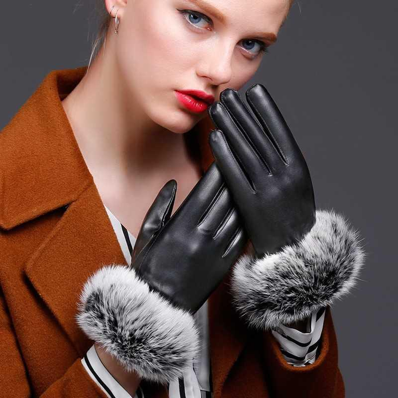 。 Autumn and winter leather gloves mens thin touch screen driving motorcycle riding gloves PU leather Plush repair.
