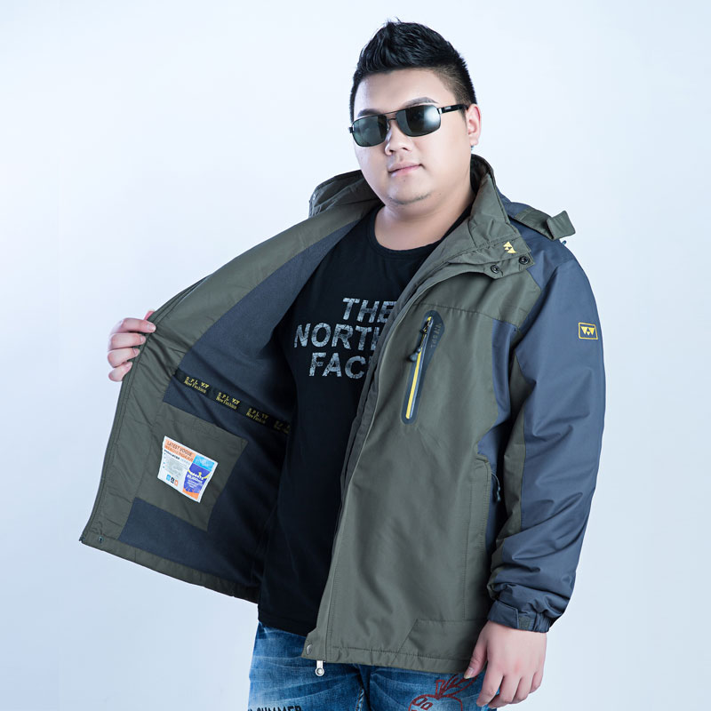 Fat plus fat plus size jacket mens spring and autumn thin coat extra large fat guy sports outdoor assault coat