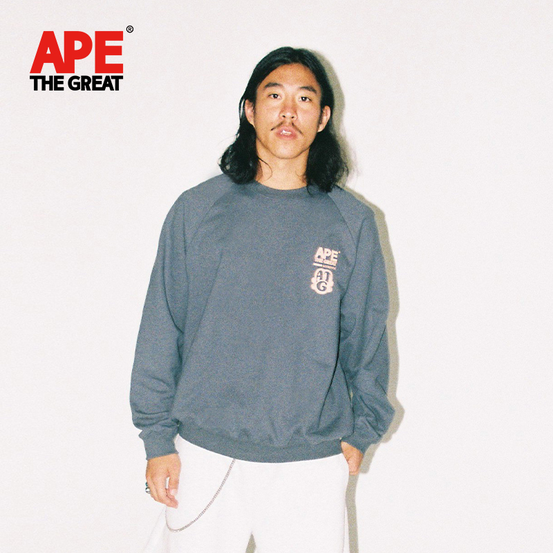 Ape the big round neck sweater 2021 spring new pure cotton loose Sweatshirt Korean couple fashion brand