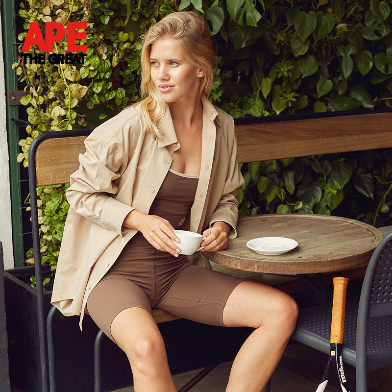 APE THE GREAT女士休闲衬衫宽松秋季新款纯色长袖上衣衬衣打底衫