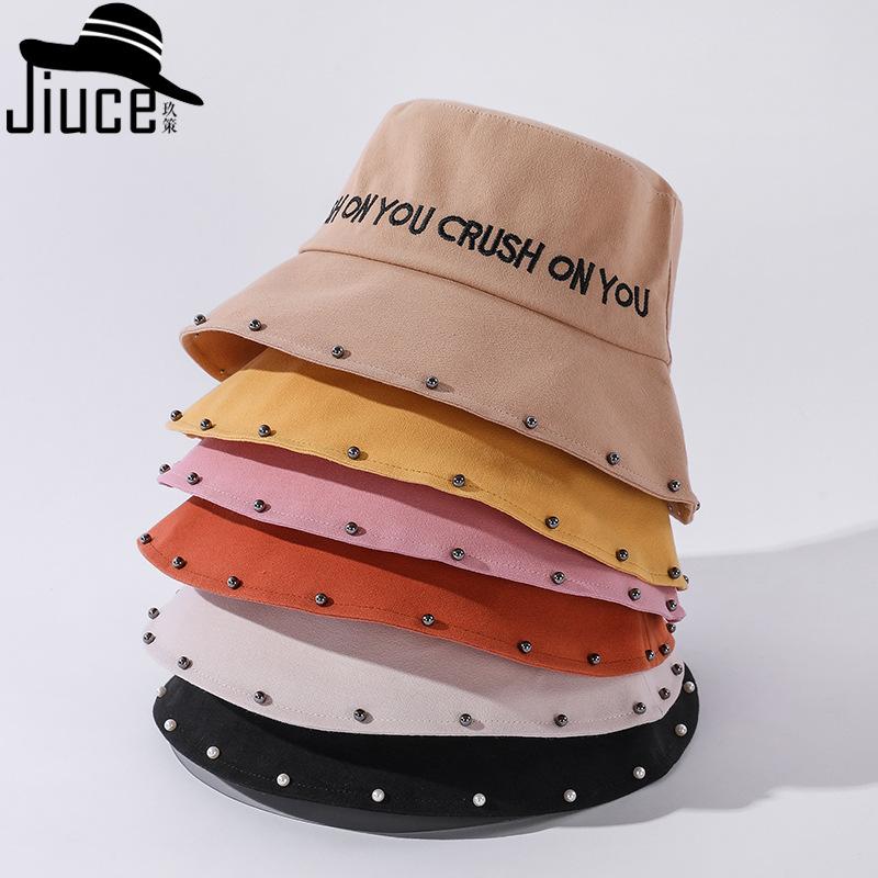 タオバオ仕入れ代行-ibuy99|帽子|2021春夏韩版刺绣字母渔夫帽子女珍珠铆钉休闲盆帽新款百搭遮阳帽