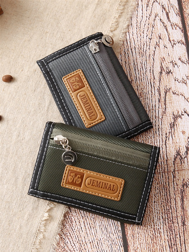 Nylon change wallet mens canvas casual short 30% off wallet student double zipper compartment small wallet with small tide