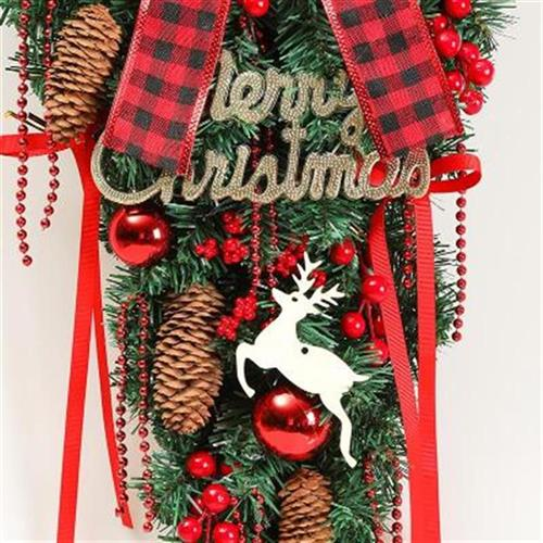 Christmas decorations hanging upside down tree red retro bow Decoration Christmas mall w beautiful old Garland