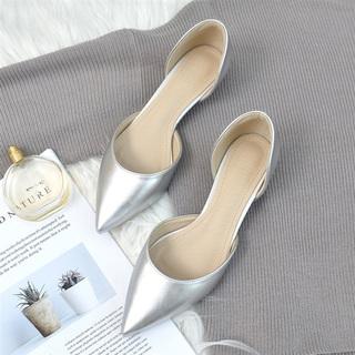 包头凉鞋女2021夏季新款中低跟银色高跟鞋尖头细跟单鞋3cm小跟鞋