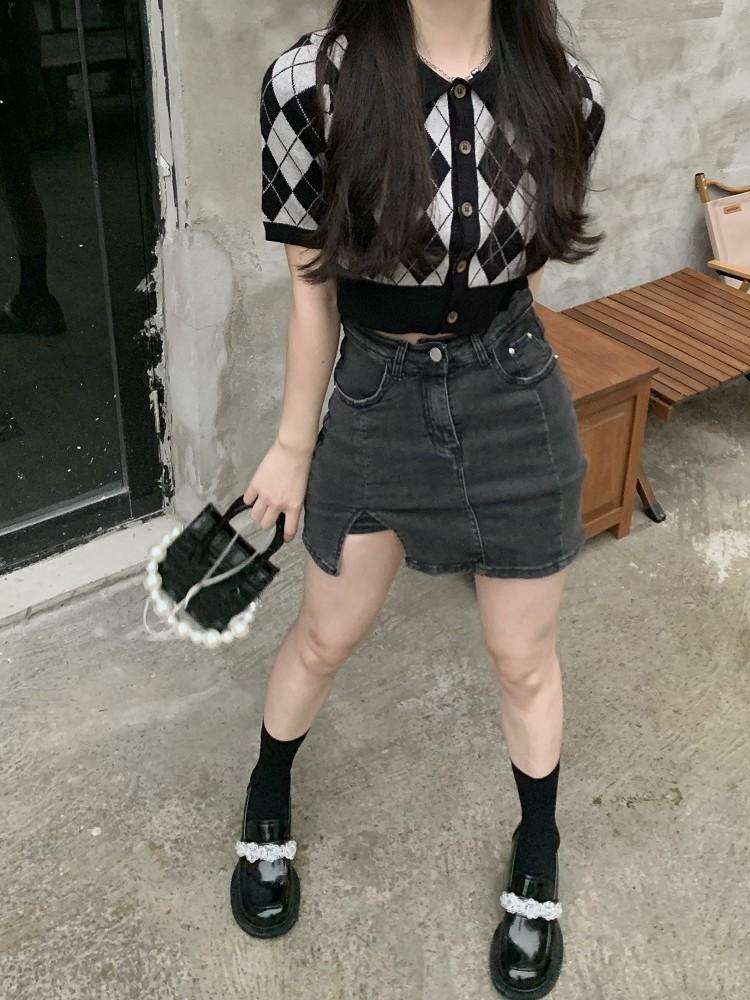 腿精本精牛仔短裙女夏小心机开叉美式辣妹包臀裙高腰显瘦半身裙子