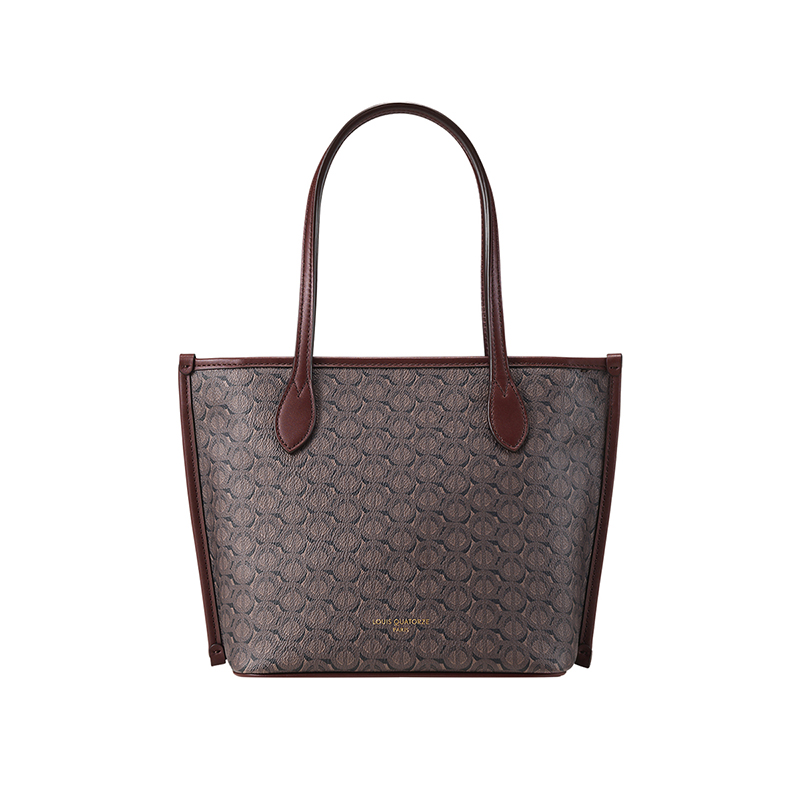 Louis quatorze brown cow leather French womens shoulder bag 1980 pattern medium shopping bag