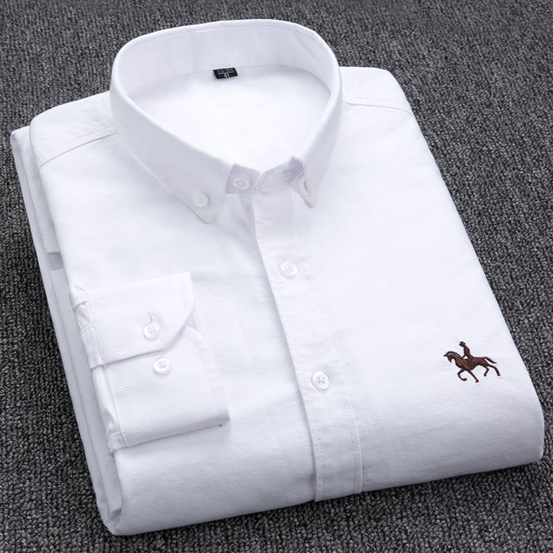% Cotton Oxford Shirt Mens Long Sleeve Embroidered Horse Ca
