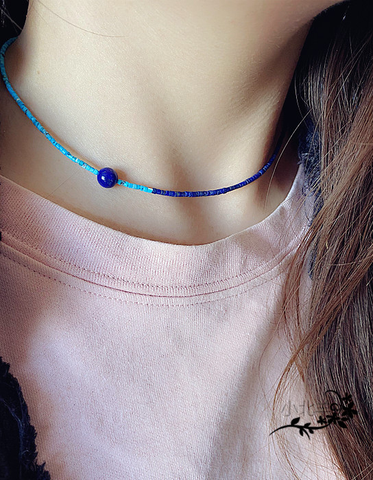 Abstinence Department clavicle chain very fine 2mm lapis lazuli Turquoise Necklace manual cold wind clavicle chain