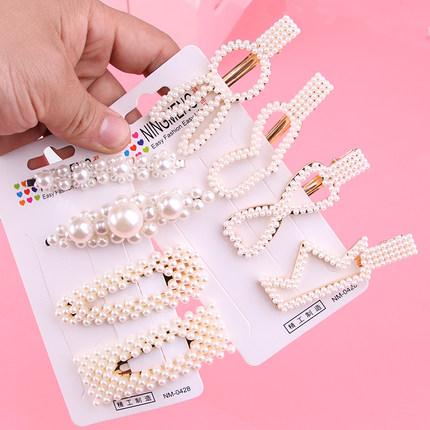 韩国珍珠发夹少女卡子bb夹边夹刘海夹网红侧边发夹镂空一字夹发卡