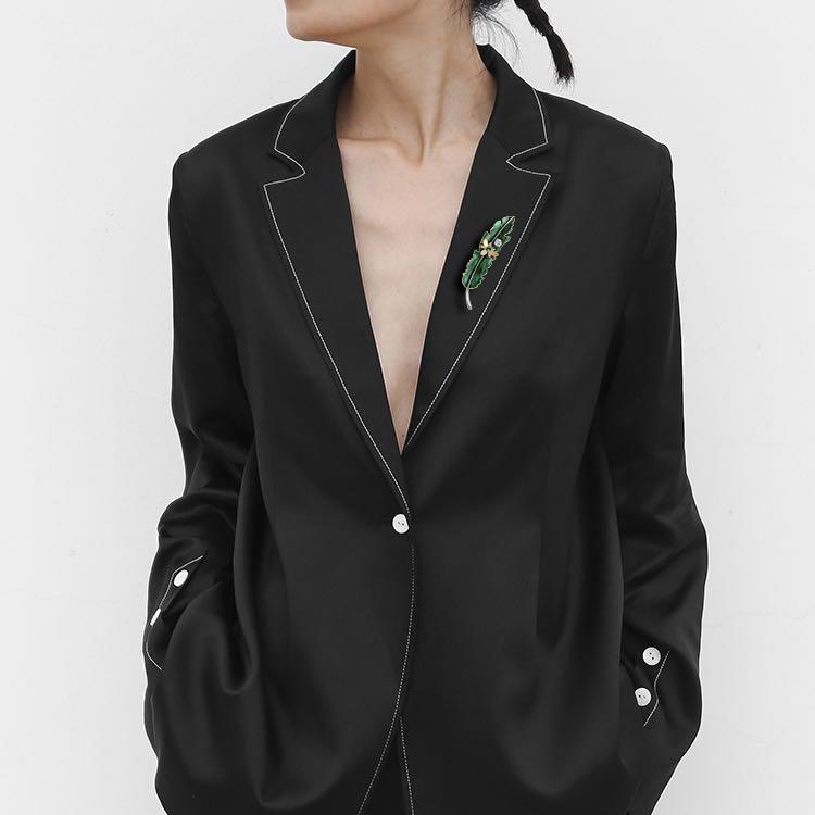梵高蒲公英的来信昆虫叶子高档胸针绿色植物胸花外套别针复古配饰