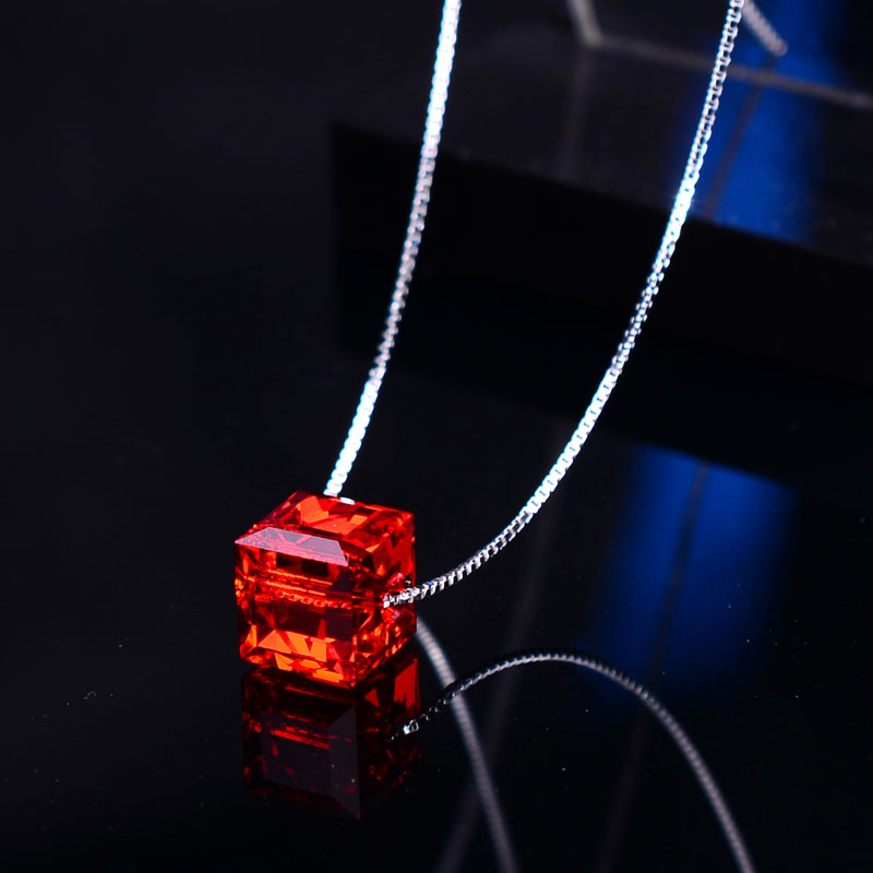 Red Rubiks cube simple necklace Austrian Crystal 925 Sterling Silver Japanese and Korean Style Pendant female clavicle jewelry