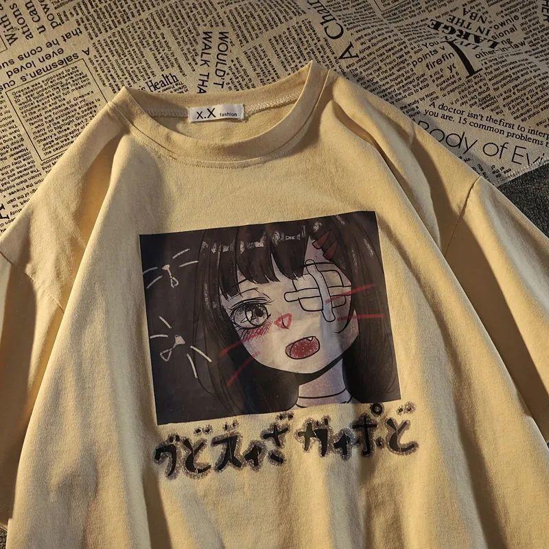 盐系短袖T恤女2021夏季新款日系潮牌印花学生宽松半袖ins体恤上衣