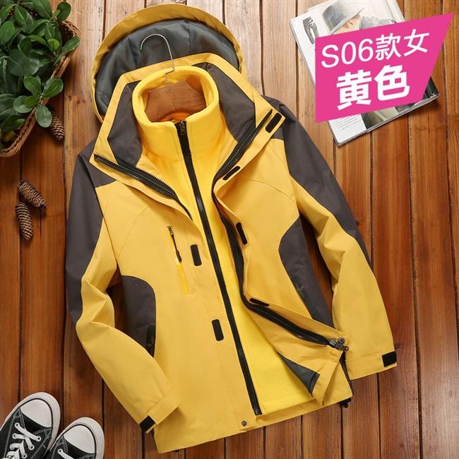 男女韩国冲锋衣户外潮牌三合一两件套可拆卸加绒加厚外套冬季服装