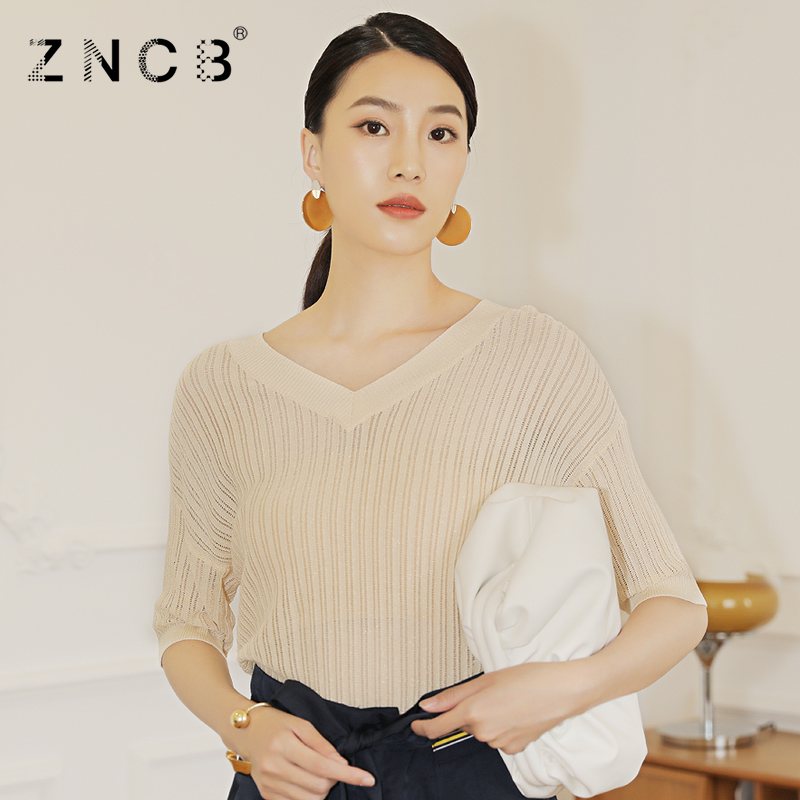 Zncb2021 summer new butterfly strap V-neck short sleeve knitted pullover loose fashion womens fashion T-shirt