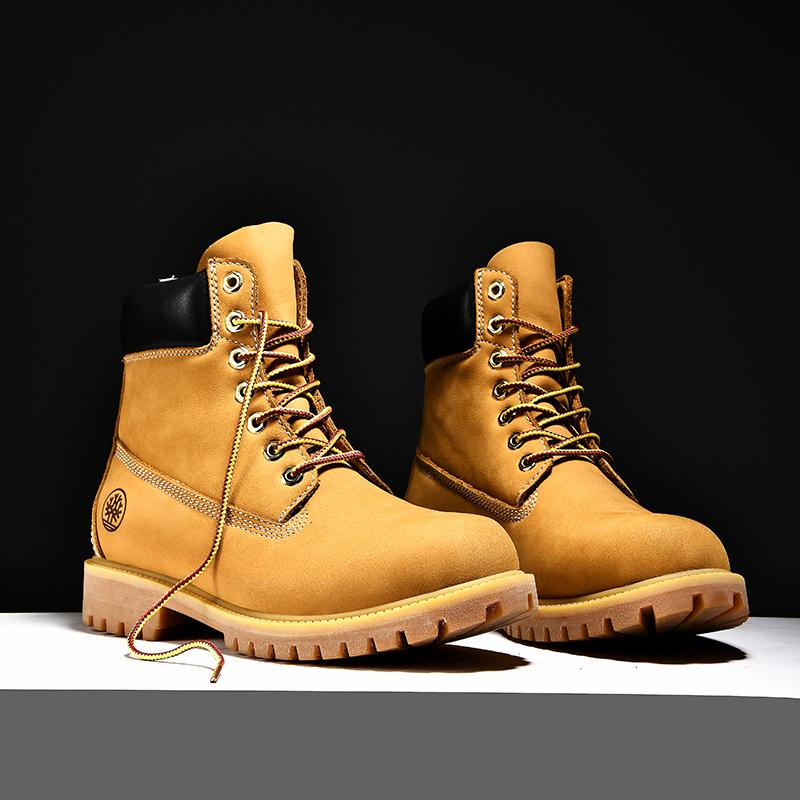 大黄靴真皮踢不烂情侣款潮鞋子