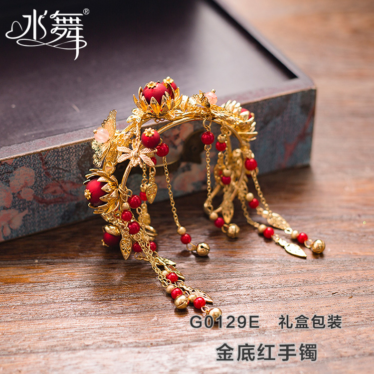 2021 gold g color wedding Bracelet Chinese style Xiuhe bride Bracelet Red Beaded clothing accessories wedding jewelry G012