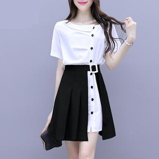 夏季女装2021新款潮爆款时尚衬衫连衣裙显瘦短裙套装洋气两件套夏