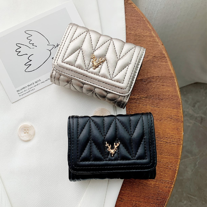 European and American womens compact card bag womens simple pure color organ type business card clip youth folding buckle zero wallet driving