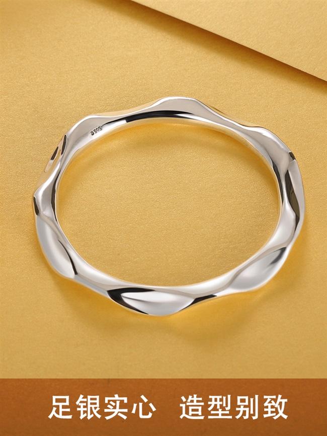 新几何曲线弯曲波浪形999足银手镯原创小众设计实心抛光个性银饰