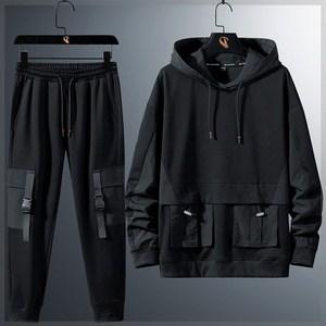 潮胖子大码男装卫衣卫裤两件套春街头运动风加肥加大宽松休闲套装