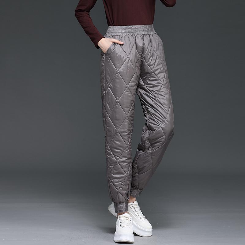轻薄刺绣羽绒棉裤女外穿冬季新款高腰显瘦束脚棉裤防风保暖裤女