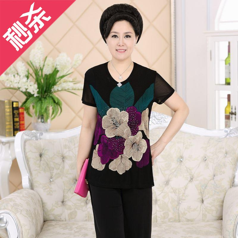 On Mothers day, middle-aged and old peoples womens summer clothes short sleeve grandmas suit 60-70g old peoples clothes.
