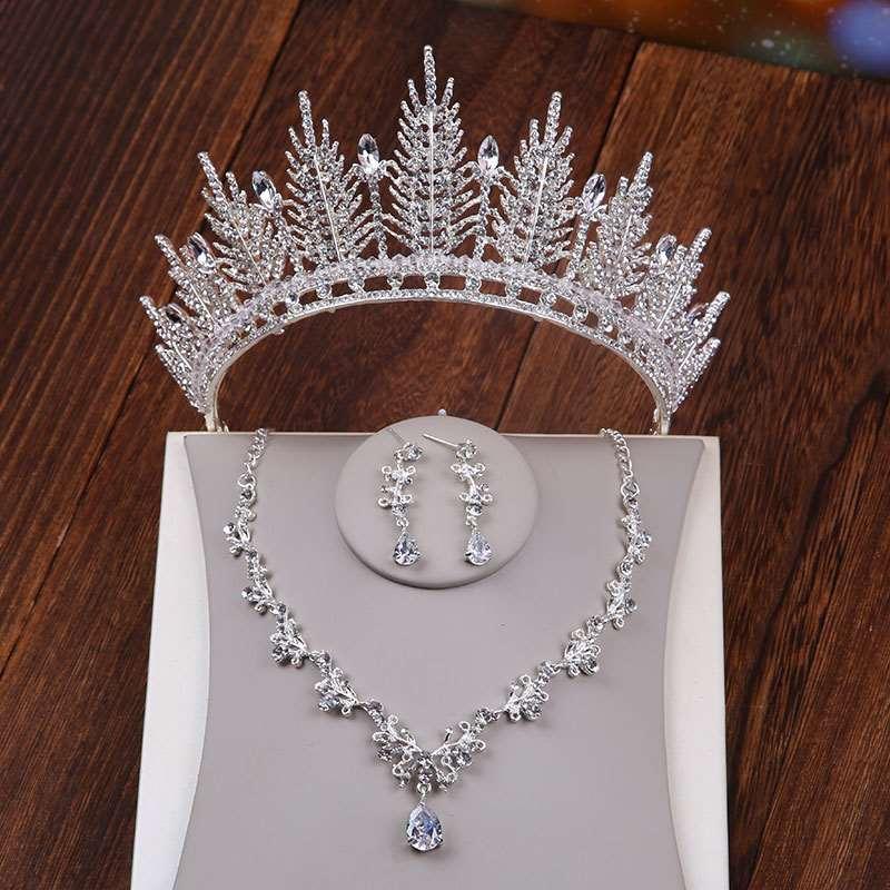Qiniang crown wedding headdress Korean new white dress wedding dress crown accessories hair accessories. Big dress wedding