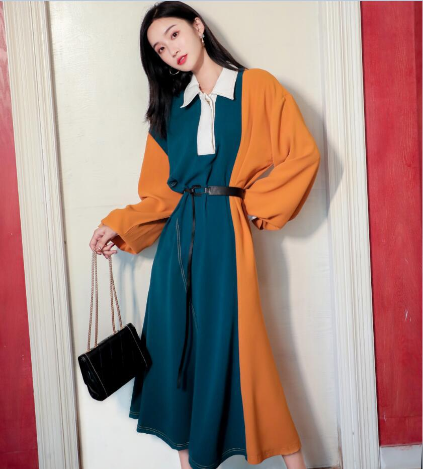 Spring and Autumn New Womens color contrast long sleeve loose dress design, knee length skirt with belt