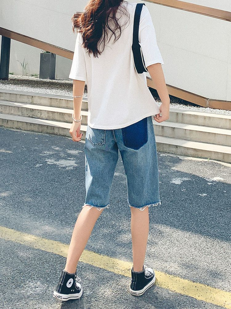 High waisted Denim Capris womens loose 2021 summer new style simple build straight tube small body show high wide leg and knee shorts