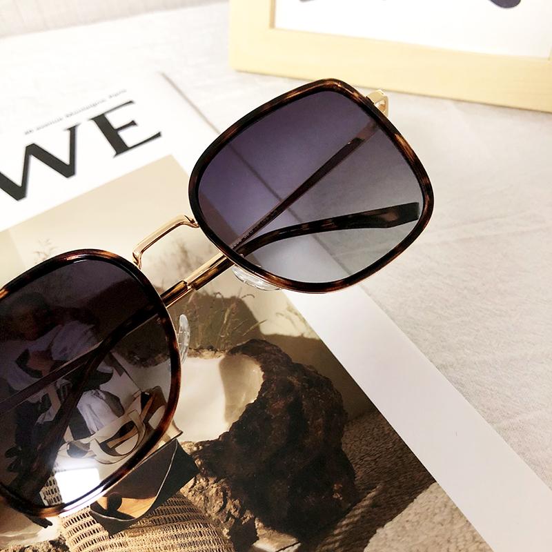 韩版新款玳瑁豹纹猫耳优雅方形百搭太阳镜显脸小素颜遮阳偏光墨镜