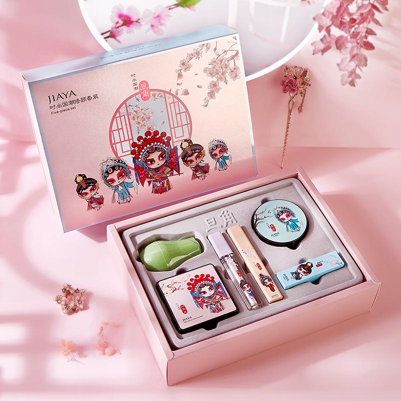 新国货彩妆套装气垫bb霜口红花定妆粉睫毛膏高光液西子化妆品套盒