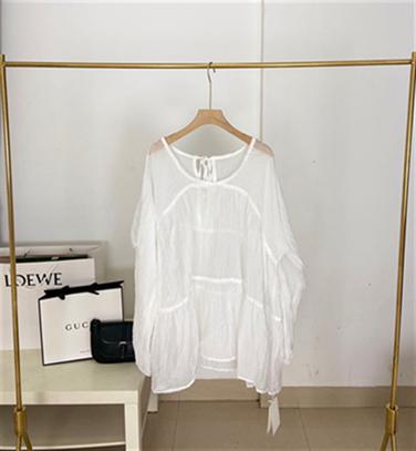 韩版气质露背系带包边钩r花长袖褶皱娃娃衬衫2021年夏季女装新品