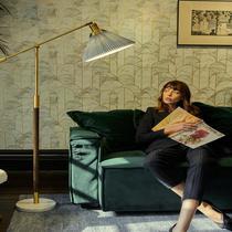 风钓鱼落地灯百褶客厅轻奢新中式美式复古卧室床头灯台灯ins北欧