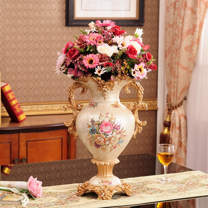 欧式典雅树脂奢华双耳大号室内花瓶