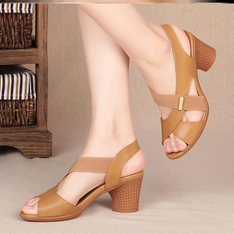 中國代購 中國批發-ibuy99 高跟鞋 新款2021中跟夏天凉鞋女外穿轻软底高跟鞋粗跟鱼嘴鞋舒适防滑软底