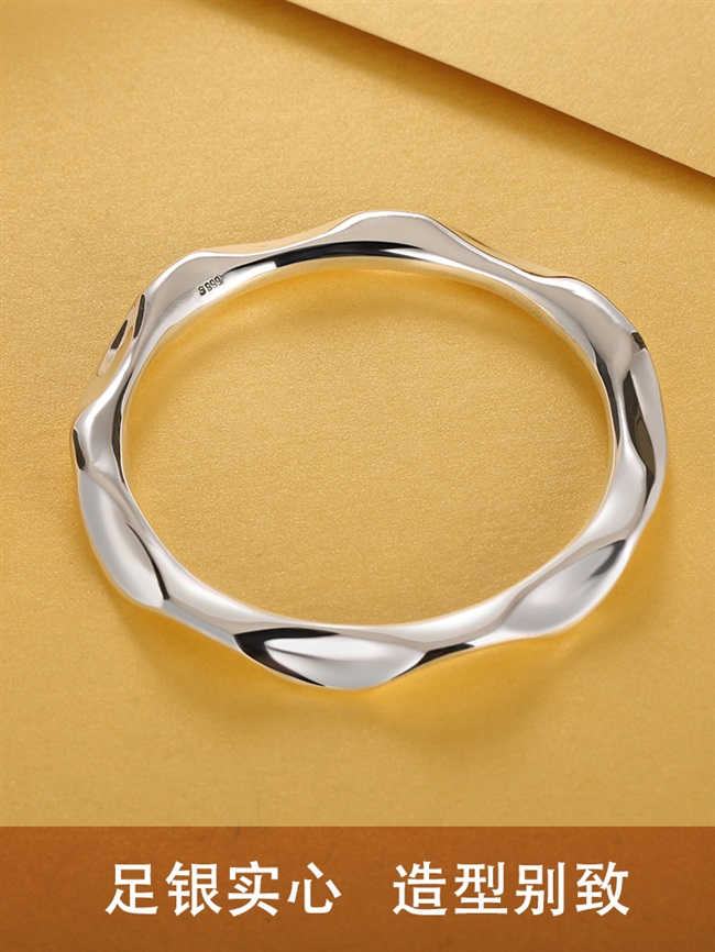 。 New geometric curve curved wavy 999 full silver bracelet original niche design Solid Polished Personalized Silver