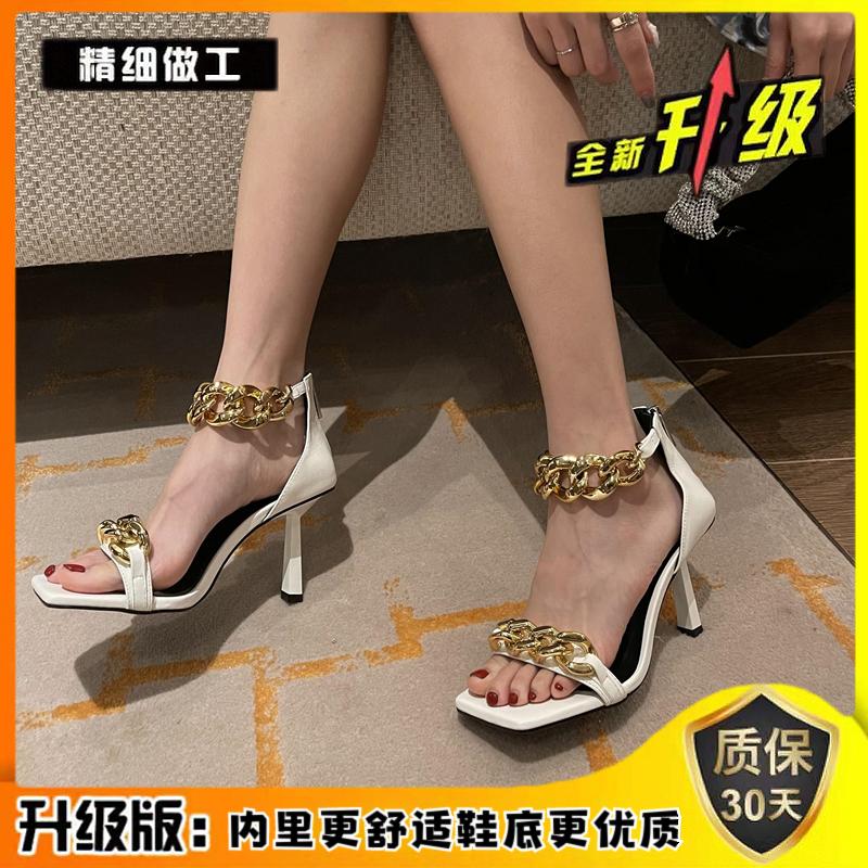高档链晚a晚凉鞋女细季仙女风一字带时装夏跟条高跟露趾链超罗奢