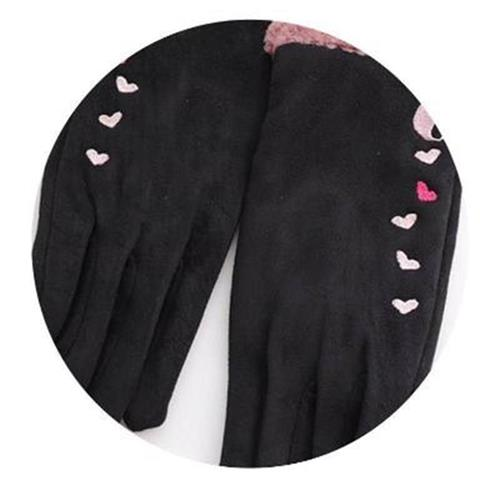 。 Gloves Winter female cycling leather warm cotton y cold proof student touch screen five fingers suede thin cycling autumn