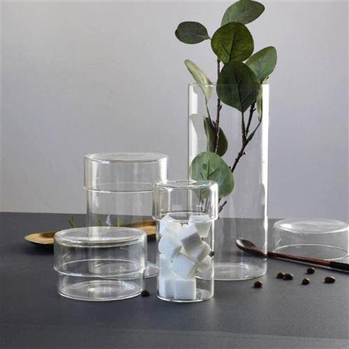 Transparent glass storage tank storage bottle 2021 flower C tea storage set coffee beans storage can