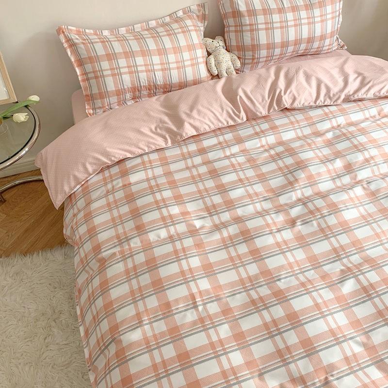 中國代購|中國批發-ibuy99|床上用品|简约四件套水洗棉被套格子床单学生三件套北欧风ins网红床上用品4