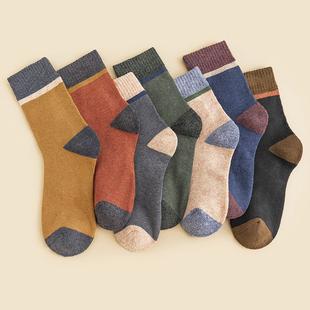 男文艺毛圈常规运动网红袜子男士中筒袜纯棉加厚秋冬保暖吸汗防臭