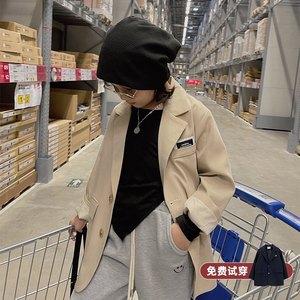 周大雨儿童长款西服2021春秋新款男女童休闲韩版洋气宽松西装外套