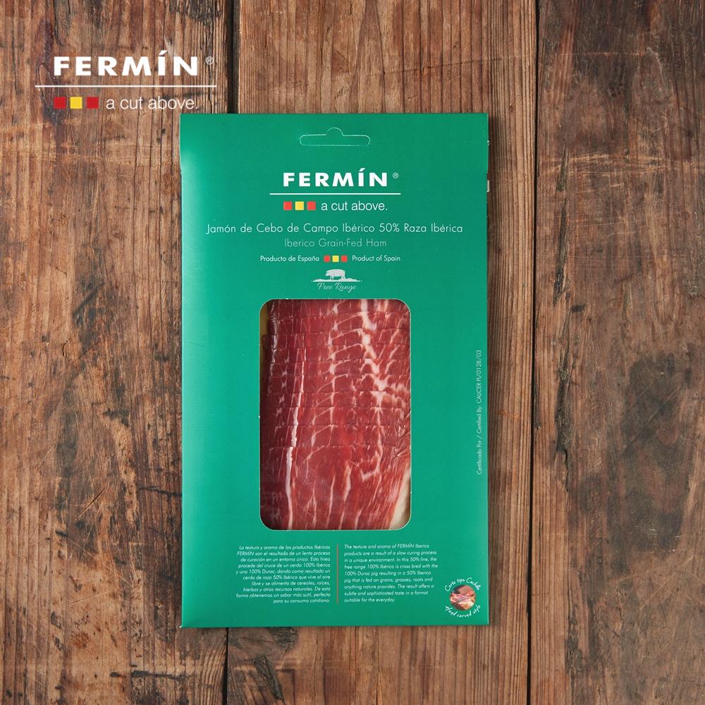 西班牙 FERMIN 绿标散养 伊比利亚谷物黑猪 后腿风干火腿切片60克