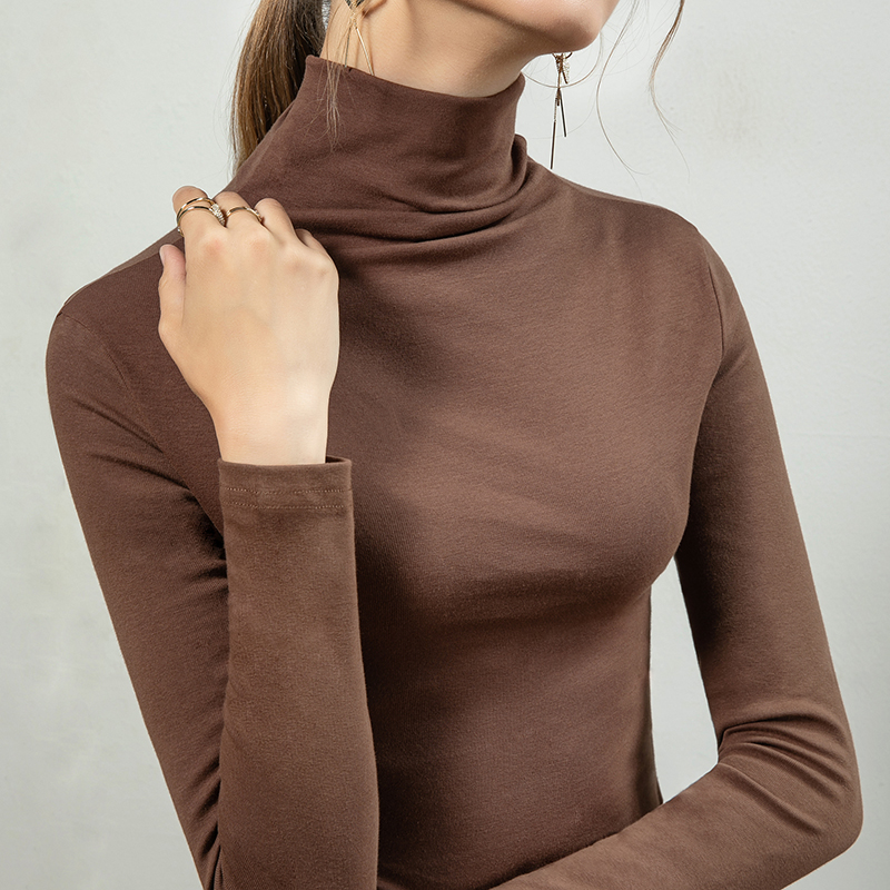 Vatilla 2021 autumn new high neck fashionable inner top age reduction slim fit thin foreign style T-shirt bottom shirt