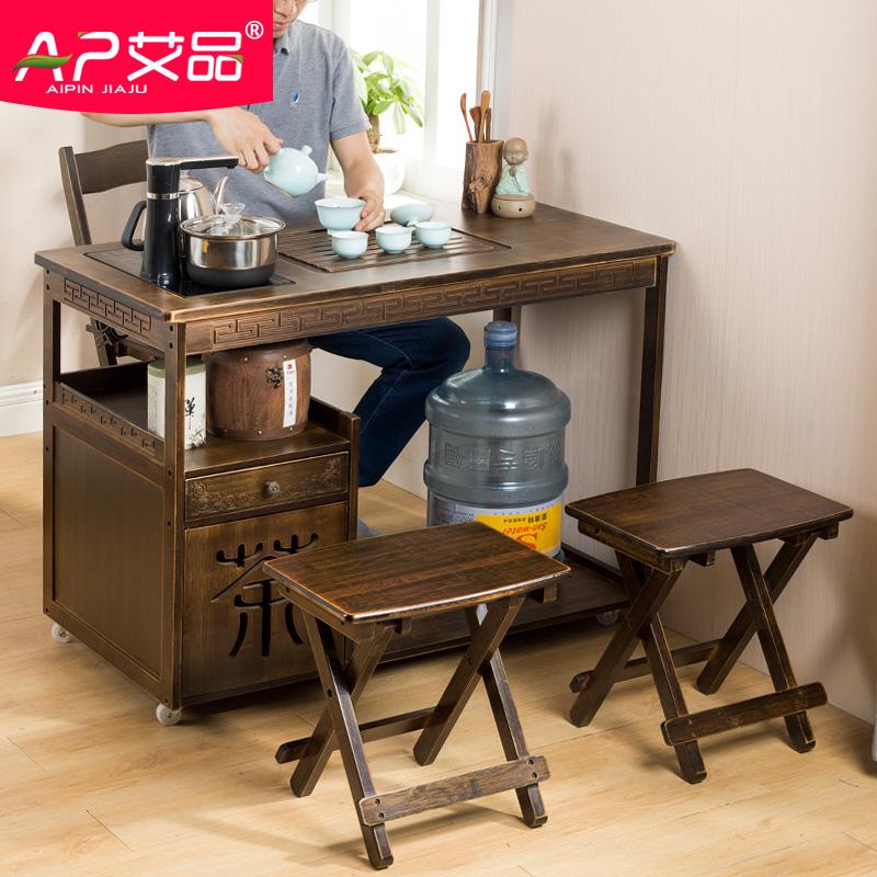 可移动茶几功夫喝茶泡茶桌椅组合实木小茶台中式家用茶具套装一体