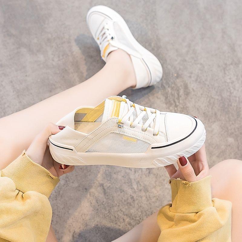 中國代購|中國批發-ibuy99|运动鞋女|一脚蹬两穿网面透气小白鞋女2021新款夏款平底百搭休闲运动板鞋女