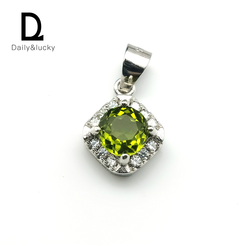 Daily & lucky jewelry natural olivine pendant 6 * 6mm, fashionable and versatile